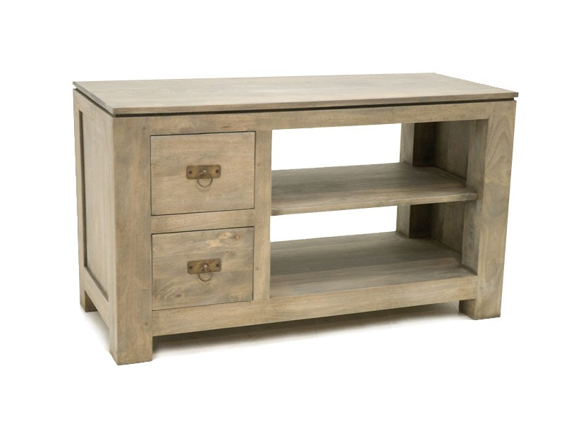 petit meuble tv holly 2 tiroirs 1 niche avec tag re meubles bois massif. Black Bedroom Furniture Sets. Home Design Ideas