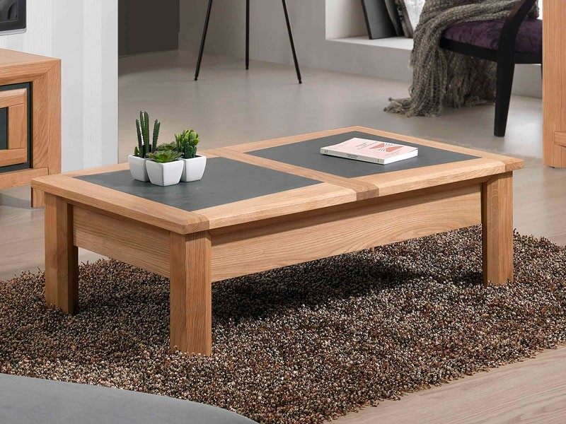 Table basse design bois naturel teck lounge - Table fer forge plateau bois ...