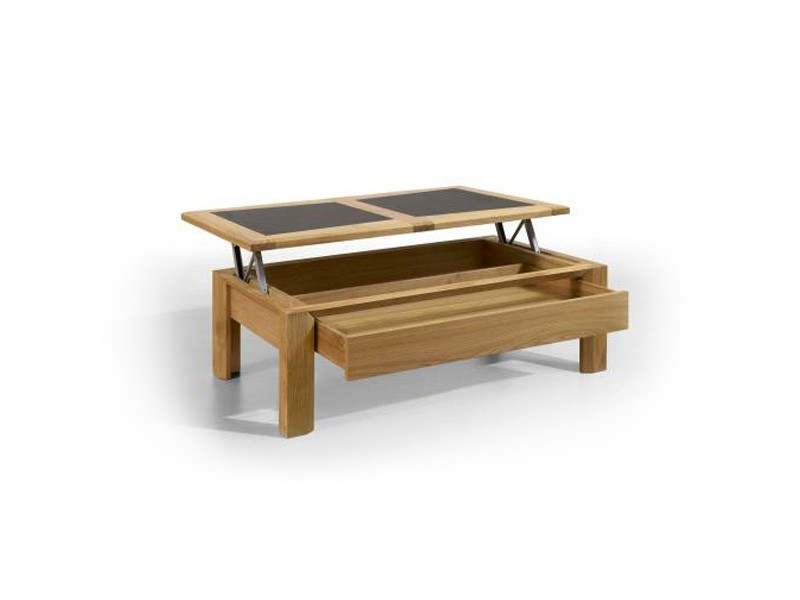 Table basse salon plateau ceramique for Table basse fer et bois