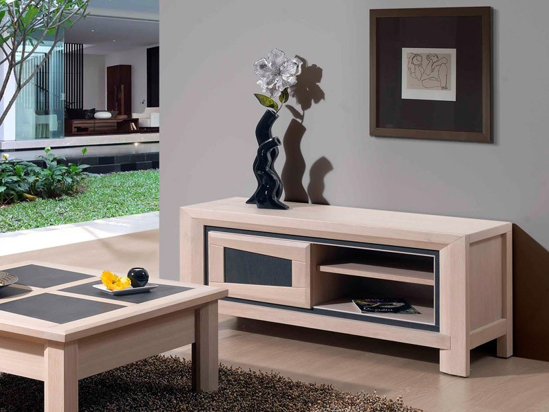 meuble tv moderne parme 1 portes en ch ne et c ramique meubles bois massif. Black Bedroom Furniture Sets. Home Design Ideas