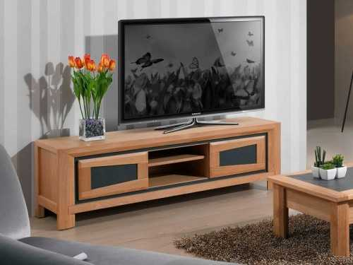 meuble tv 2 portes en ch ne parme avec details en c ramique meubles bois massif. Black Bedroom Furniture Sets. Home Design Ideas
