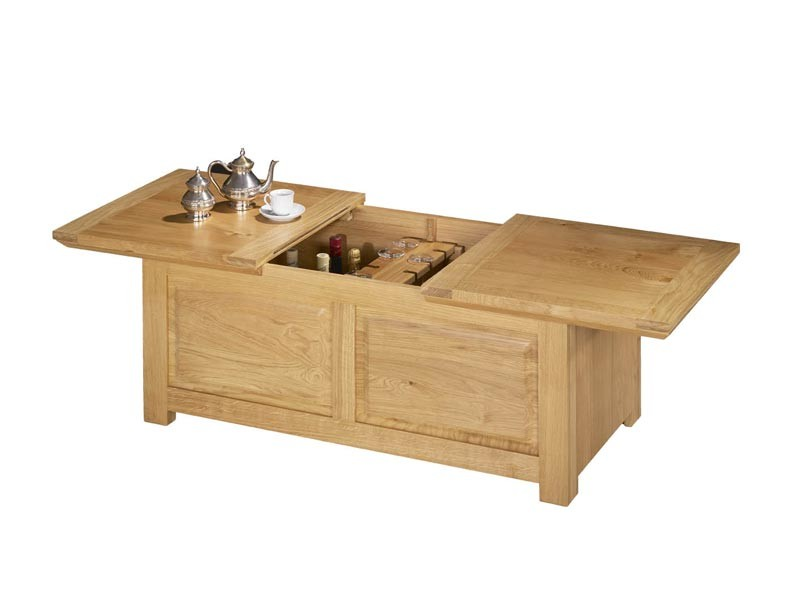 Table Basse Bar En Chêne Massif Mathilde Style Rustique