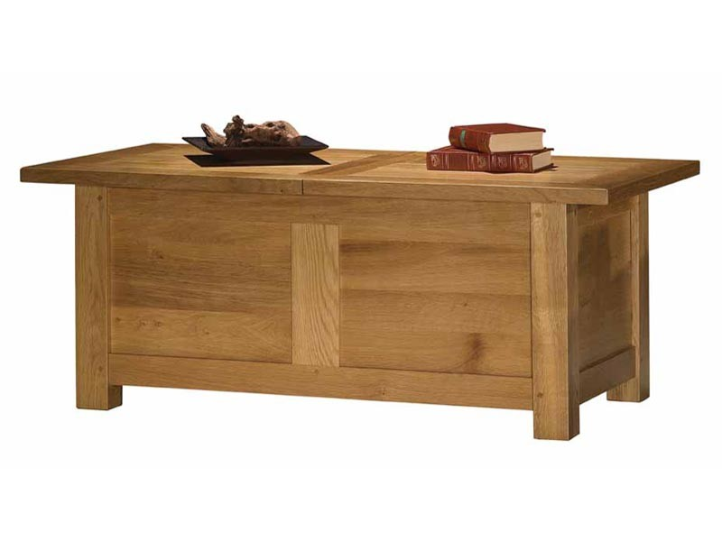Table basse bar en chêne massif Tivoli, avec plateau