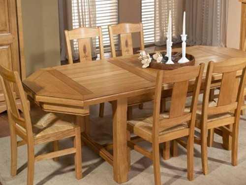 Table à manger rustique octogonale