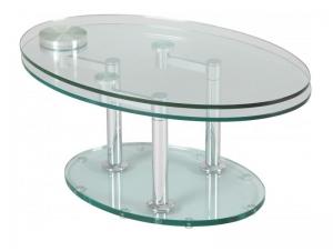 Table de salon double plateaux en verre