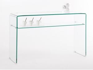 Console en verre avec etagère