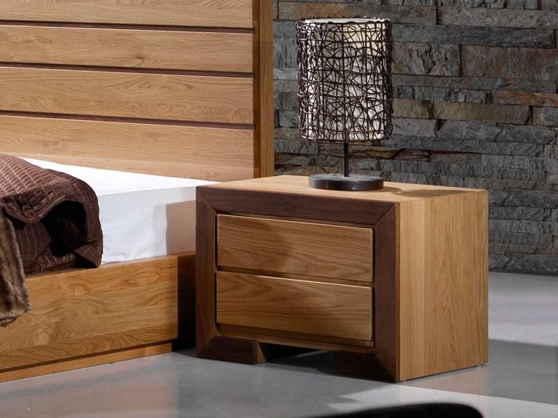 Table de chevet ruban en chene massif et bois de noyer - Table de chevet chene clair ...