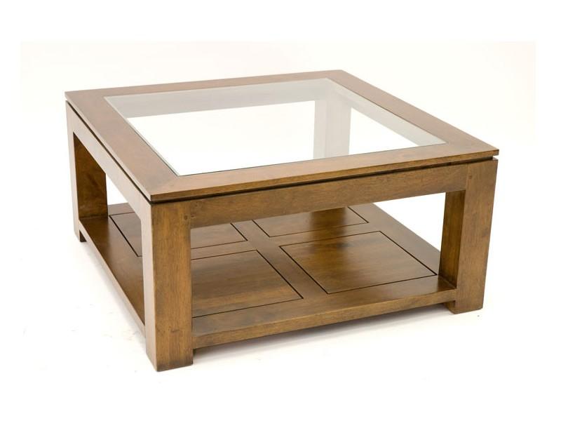 Table De Salon Holly Double Plateau Avec 1 Panneau En Verre