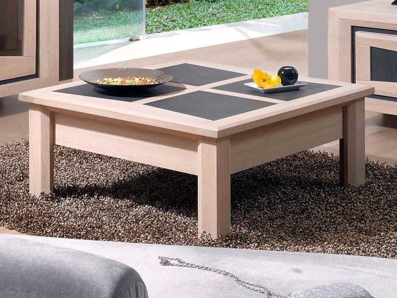 Table basse carrée Parme en chêne et céramique - Meubles ...